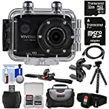 Vivitar DVR786HD 1080p HD Waterproof Action Video Camera Camcorder (Black) Remote, Vented Helmet & Bike Mounts + 32GB Card + Case + Tripod Kit