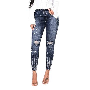 f22bdb74e745 Geili Jeanshose Damen Lang Skinny Jeanshosen Super Elastisch Hochbund Slim  Fit Jeans Hosen Frauen Mädchen Retro Used Look Destroyed Stretch High Waist  Denim ...
