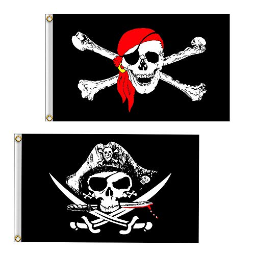 VLalin Pirate Flag, 2 PCS 2' x 3' Skull and Crossbones Jolly Roger Flag for Outdoor ()