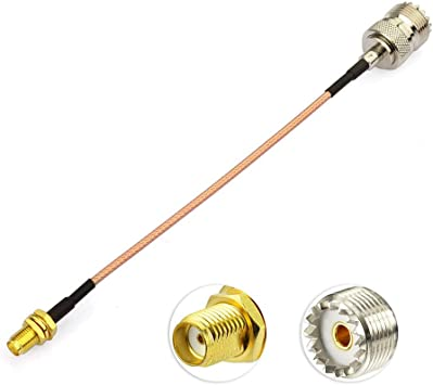 Eightwood SMA UHF Cable CB Radio Cable SMA Hembra Bulkhead a UHF Hembra SO239 Cable de extensión RG316 15cm para CB Antena Walkie Talkie Ham Radio SMA ...