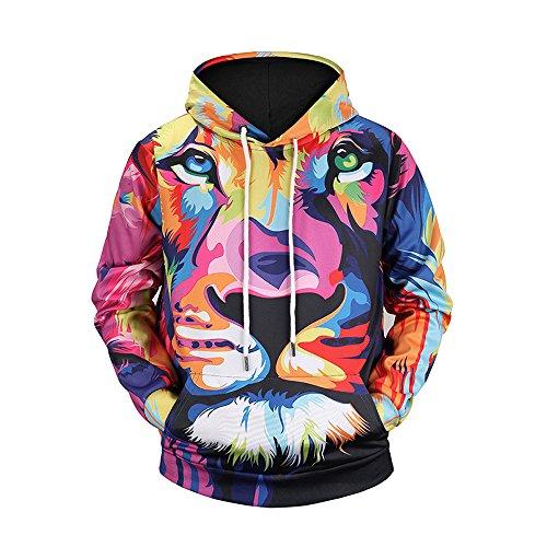 LAI MENG FIVE CATS Unisex 3D Lion/Tiger/King Kong Printed Long Sleeve Casual Hoodies Sweatshirt ()
