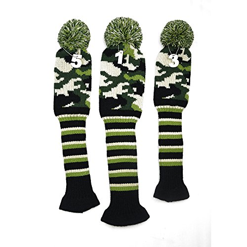 Headcover Army (PLAYEAGLE 3 pcs/set Knitting Golf Clubs Headcover Driver Cover(460cc),Fairway Wood Head Covers for Taylormade,Callaway,Titleist and More Brand (Army Green))