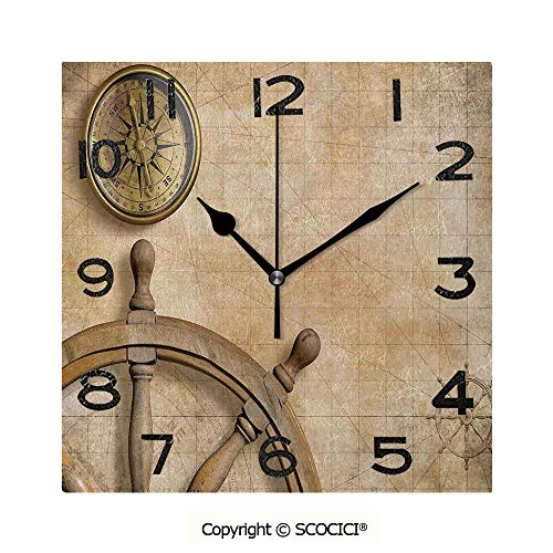(SCOCICI Square Wall Clock Steering Wheel and Compass Vintage Map Setting Captains Chamber Finding Treasure Print 8 inch Morden Wall Clocks Silent Square Decorative)