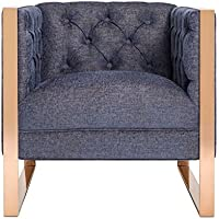 TOV Furniture The Farah Collection Modern Style Living Room Linen Upholstered Button Tufted Chair, Navy