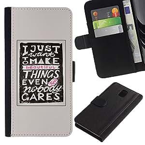 A-type (Hacer Cosas inspiradora motivación) Colorida Impresión Funda Cuero Monedero Caja Bolsa Cubierta Caja Piel Card Slots Para Samsung Galaxy Note 3 III