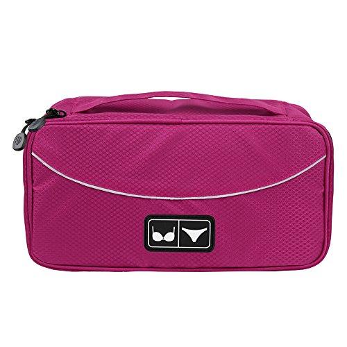BAGSMART Travel Gear Luggage Packing Cube Lingerie Travel Case Bra Underwear Bag, Rose red
