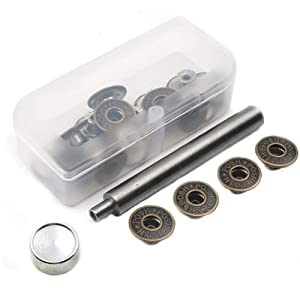 20 Pieces Jeans Button Tack Buttons Snap Fastener Press Studs Metal Replacement Kit with Storage Box, Diameter 17MM(0.67 Inch) (Style 3)