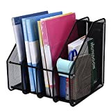TOROTON File Rack Holder, 4 Compartments Mesh Metal Home Office Desk Book Sorter Storage Shelf, for Paper Magazine Documents and Books -Black