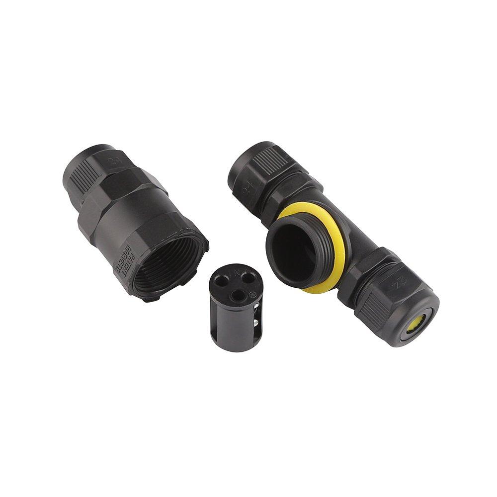 Conector de cable a prueba de agua IP68 Conector de conexi/ón de la caja de conexiones exterior para /Ø5-10mm di/ámetro de cable Paquete dede 2 negro