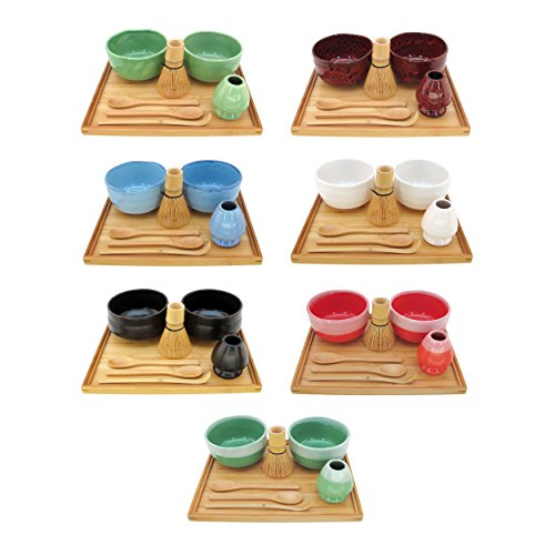 BambooMN Brand - Matcha Bowl Set (Includes 2 Bowls, Tea Whisk, Rest, Large Tray, 2 Teaspoons and Chasaku) - 1 Set - Black by BambooMN (Image #2)