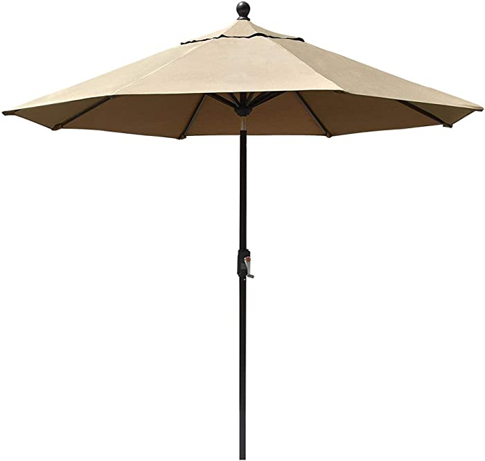 EliteShade Sunbrella 9Ft Market Umbrella Patio Outdoor Table Umbrella with Ventilation and 5 Years Non-Fading Top,Heather Beige