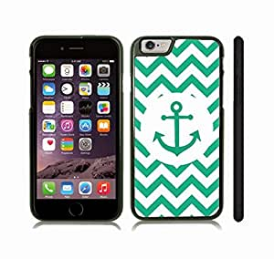 iStar Cases? iPhone 6 Case with Chevron Pattern Green/ White Stripe Green Anchor , Snap-on Cover, Hard Carrying Case (Black)