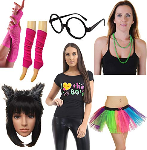 Rimi Hanger Ladies I Love The 80s Top Skirt Necklace Fishnet Glove Leg Warmer Headband Set (WF7620+3LWT7748+GL9026+PLGP005+WA2736+13024XX+7201) Medium -