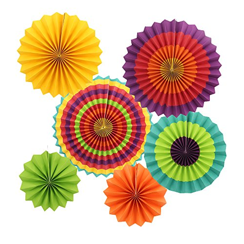 Zicome 12 Pack Fiesta Paper Fans Decorations for Party Decor
