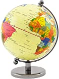 BRUBAKER Rotating Desk Globe with Metal Base - Office Decoration - Political World Globe - 7.5 inches tall - Yellow
