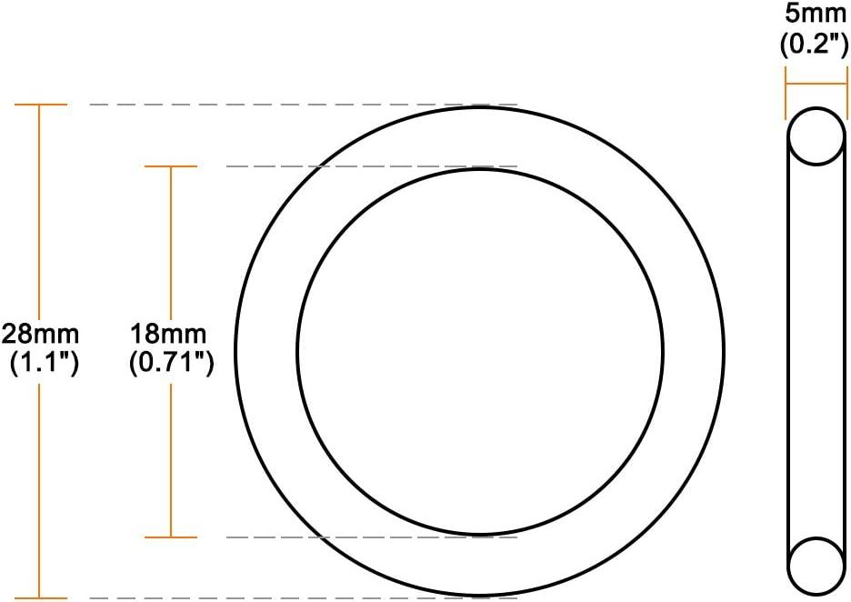 sourcing map Juntas t/óricas Caucho de nitrilo 17 mm x 27 mm x 5 mm Anillos de sellado Junta de sellado 10 piezas