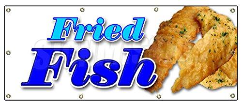 "36""x96"" FRIED FISH BANNER SIGN fry fish deep seafood sea food fresh batter"