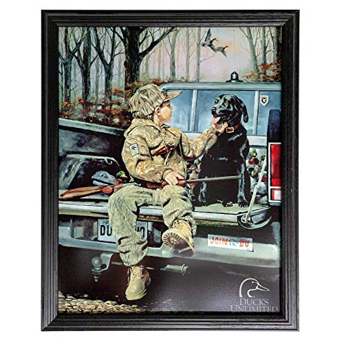 Hunting Tin Sign 14 x 17.5 in Framed by Northern Promotions - Boy with Dog and Gun on Truck, Black Oak Ash Hardwood