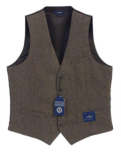 Gioberti Men's 5 Button Formal Tweed Suit Vest, Brown Donegal, 2X Large (5 Button Vest)