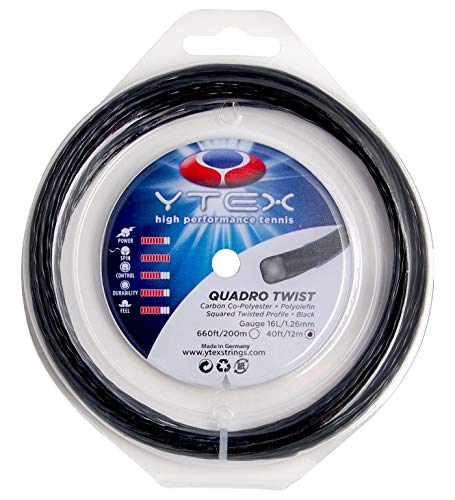 (YTEX Quadro Twist Black Tennis Racquet String Set (16 Gauge, 1.26mm))