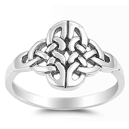 Plain Celtic Design Cross .925 Sterling Silver Ring Size 9 ()