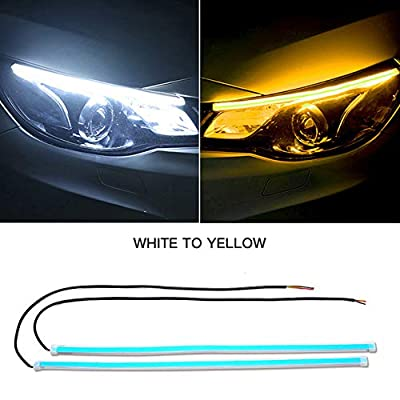 FAYUE 2Pcs 24 Inches DRL LED Light Strip, Car Flexible Daytime Running Lights Ice White-Amber Dual Color Sequence LED Strip Tube Switchback Headlight & Turn Signal Lights Tube Fits for Any 12V Cars: Automotive