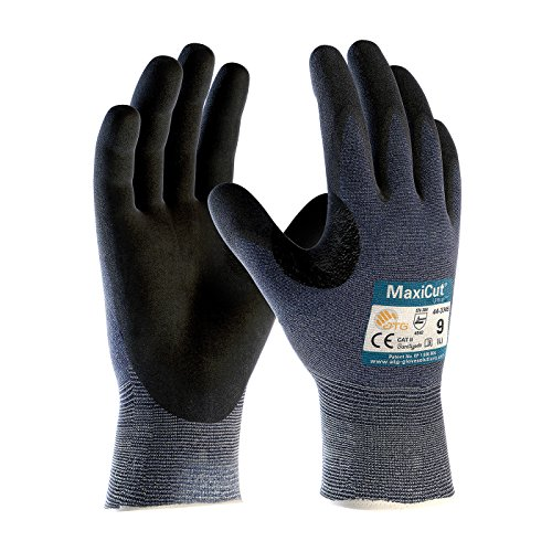 3 Pairs Maxicut Ultra 44-3745/L Seamless Knit Engineered Yarn Work Glove with Premium Nitrile Coated MicroFoam Grip on Palm & Fingers by MaxiCut (Image #1)