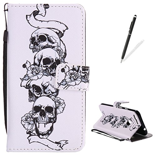 Google Pixel XL Flip Leather Case KaseHom [Free Black Touch Stylus], Folio Magnetic Cartoon Pattern Premium PU Wallet Cover with Lanyard [Card Slots] [Kickstand] Protective Holster Skull Rose