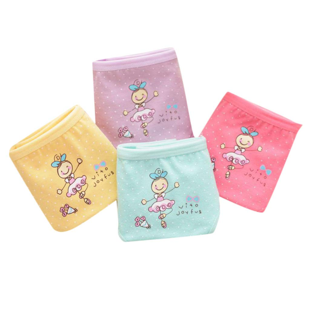 Pack of 4 Kingspinner Girls Briefs Cartoon Print Soft Cotton Breathable Panties Underwear