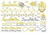 A-List Greek Metallic Temporary Tattoos - Sigma Delta Tau Gold, Silver Sorority Symbols, Torch, Rose, Rings, Bracelets, Necklaces   Premium Body Jewelry 2 Sheets Tattoo Set