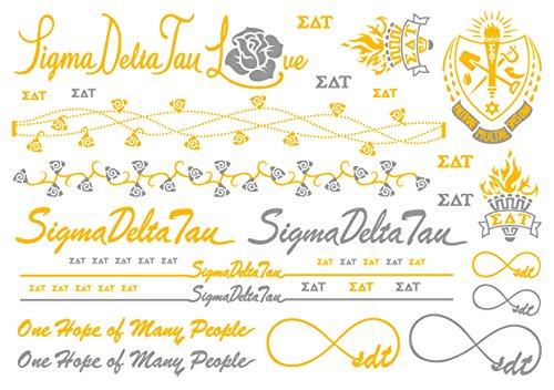 A-List Greek Metallic Temporary Tattoos - Sigma Delta Tau Gold, Silver Sorority Symbols, Torch, Rose, Rings, Bracelets, Necklaces | Premium Body Jewelry 2 Sheets Tattoo Set