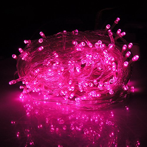 HDE Linkable LED String Lights Holiday Home Fairy Multifunction Wedding College Dorm Room Craft Decoration Expandable Rope Lights (100 Micro LEDs - Pink)]()
