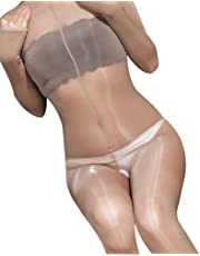 YZAF Glossy Full Bodystocking Smooth Bodysuit Tights Sexy Bodyhose (Nude Open)