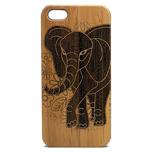 Elephant Case for iPhone 5, iPhone 5S or iPhone SE | iMakeTheCase Eco-Friendly Bamboo Wood Cover | African Asian Spirit Animal (Iphone 5s Case Elephant Wood)
