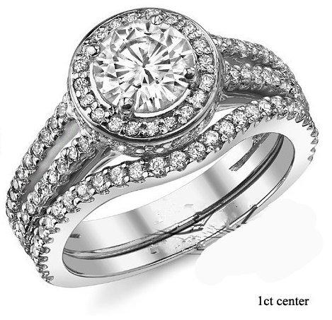 Gowe Or blanc Bague Diamant 2carats Split Tige Halo Ascd Lab Cultivées Diamant en or massif 9K de mariage Diamant Bague