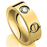 JoGray Love Zircon Ring-Gold Lifetime Just Love You With Ring 6MM in Width Sizes 7