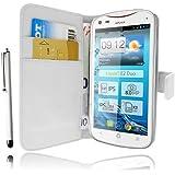 Etui Housse Luxe Portefeuille Blanc pour Acer Liquid E2 Duo + STYLET et 3 FILM OFFERT !!