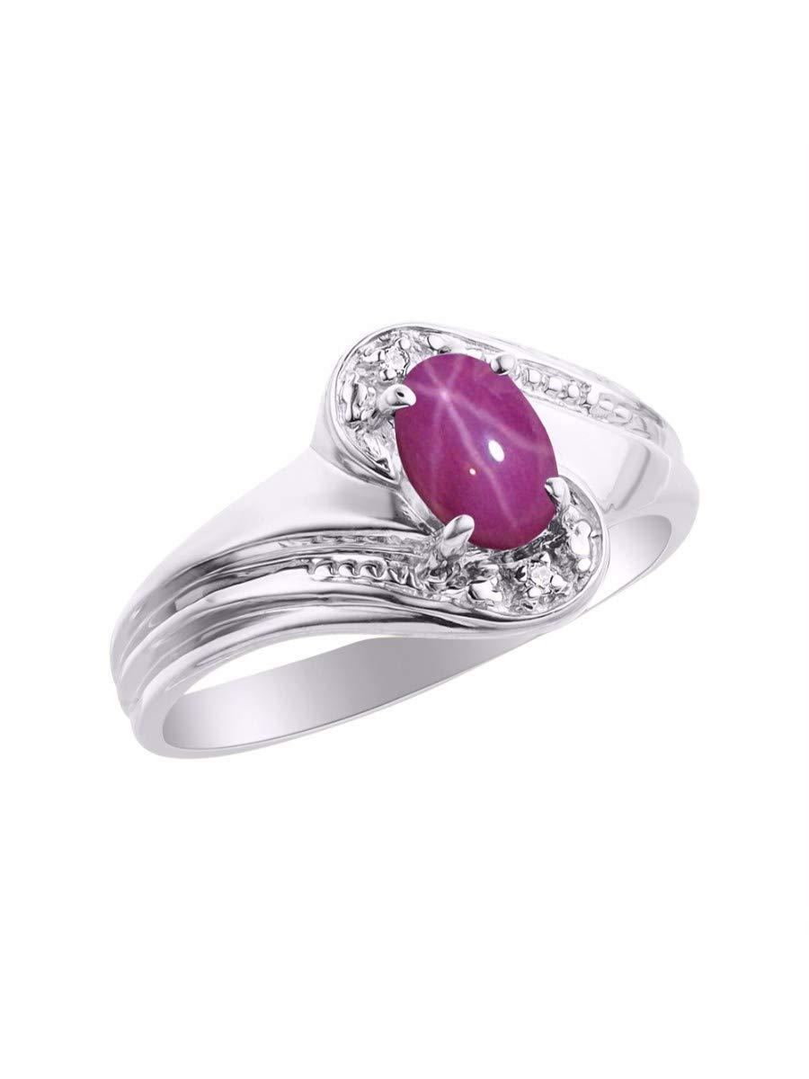 RYLOS Simply Elegant Beautiful Red Star Ruby & Diamond Ring - July Birthstone by Rylos (Image #3)