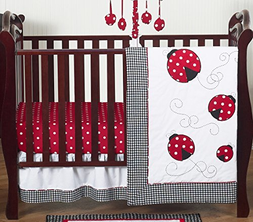 Red and White Polka Dot Ladybug Baby Girl Bedding 4 Piece Crib Set Without Bumper (Mod Ladybug)