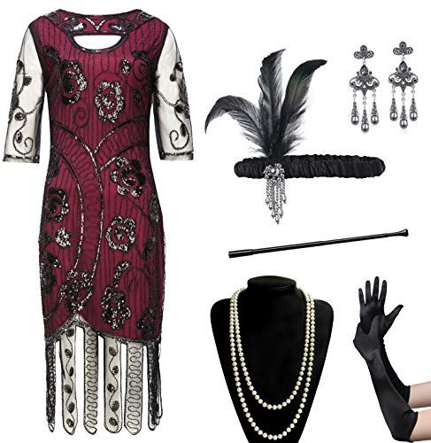 Coucoland Womens 1920s Flapper Sequin Beads Dress with Roaring 20s Gatsby Accessories Set for Party (Wine red, M) ()