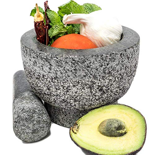 "Kota Japan 6"" Granite Mortar & Pestle Stone Grinder Set for Mixing Spices, Natural Medicines, Pastes, Pestos and Guacamole 