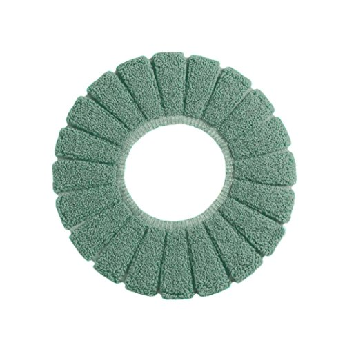 Yeefant 1Pcs Warm and Health Pumpkin Pattern Comfortable Velvet Coral Toilet Seat Cover Universal Cushion,0.95 Ft in Diameter,Dark Green ()