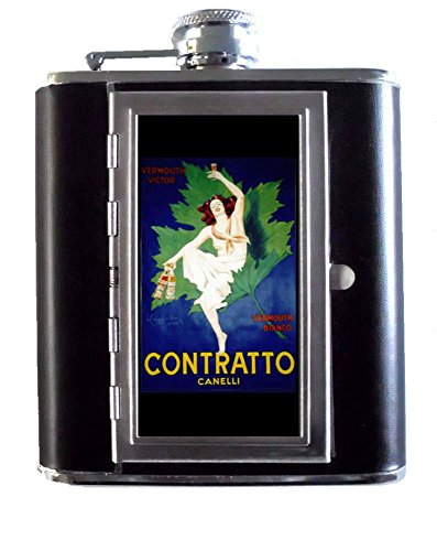 Italy Wine Sweet Vermouth Girl 5oz Stainless Steel & Leather Hip Flask with Built-In Cigarette ()