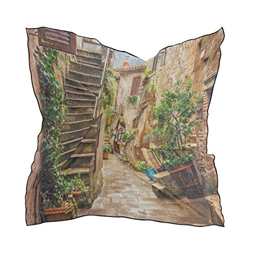 Silk Scarf Alley In Old Town Pitigliano Tuscany Italy Cityscape Square Headscarf 23 x 23 inches for Women/Girls