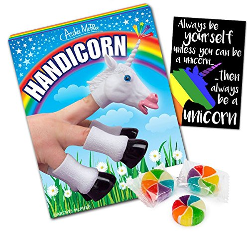 Handicorn Finger Hand Puppet with Unicorn Poop Candy & Sticker - 3 pc Bundle - Great Gift