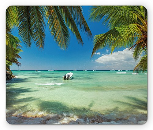 Tropical Mouse Pad by Ambesonne, Surreal Sea Surrounded by Palm Tree Leaves Scenic Nature Summertime, Standard Size Rectangle Non-Slip Rubber Mousepad, Fern Green Turquoise Blue (Leaf Summer)