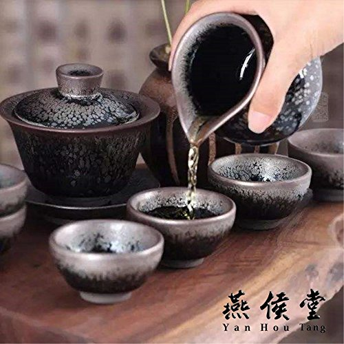 Yan Hou Tang - Earth JianZhan Tenmoku Tea Cup Bowl Cappuccinos 5 Elements Chinese FengShui Crafts Designer Collection Ceremony Ancient Style Handwork Handcrafted Oil Spot Sheaf Mouth Vitrified Surface by Yan Hou Tang (Image #6)