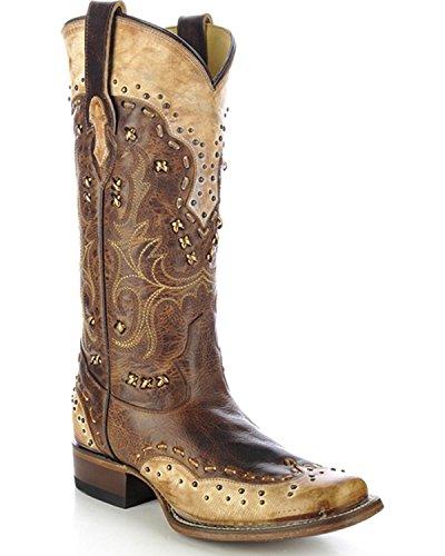 Corral Mujeres Studded Burnished Cowgirl Bota Square Toe - R1363 Antique Saddle