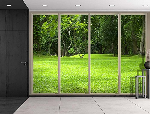 Park Filled with Trees on a Green Field Viewed From Sliding Door Creative Wall Mural Peel and Stick Wallpaper