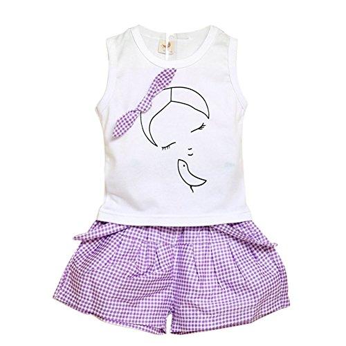 be96f46ca1418 Ensembles Shorts et Haut Fille, BOBORA T-shirts et Pantalon Court à  Carreaux Bowknot